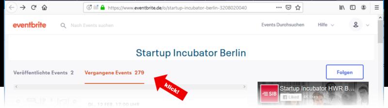 Event Übersicht eventbrite Startup Incubator Berlin